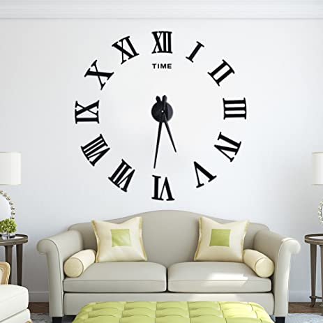 DIY Wall Clock Silent 3D Acrylic Sticker Roman Numbers Adhesive Modern Art Parts Kit