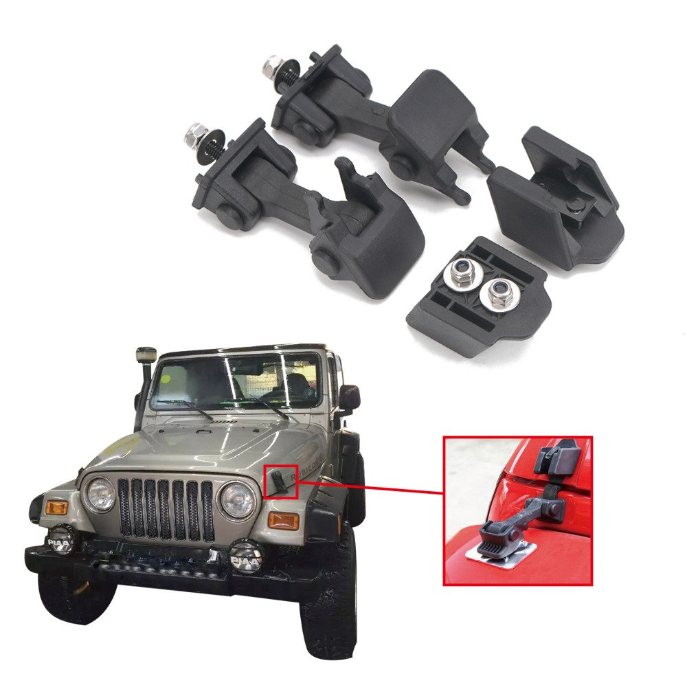 Drizzle Jeep Hood Latches Lock Injection Molded ABS Plastic for Jeep Wrangler JK 2008-2017