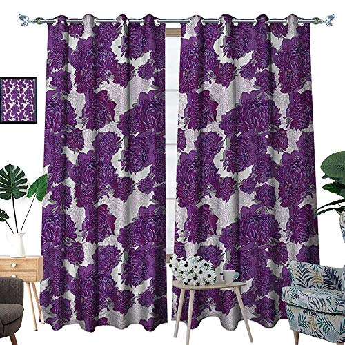 Mauve Thermal Insulating Blackout Curtain Unusual Vivid Allium Flower Petals Design Abstract Hippie Victorian Peony Artwork Patterned Drape for Glass Door W84 x L108 Purple White (Design Petal Flower Knob)