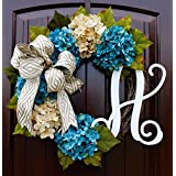 French Hydrangea Monogram Letter Wreath with Two Bow Options and Antique White and Teal French Hydrangeas on Grapevine Base-Farmhouse Style