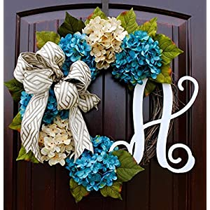 French Hydrangea Monogram Letter Wreath with Two Bow Options and Antique White and Teal French Hydrangeas on Grapevine Base-Farmhouse Style 6