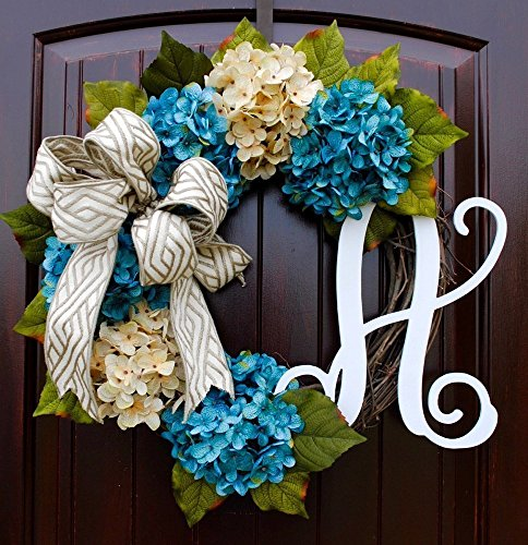 French Monogram - French Hydrangea Monogram Letter Wreath with Two Bow Options and Antique White and Teal French Hydrangeas on Grapevine Base-Farmhouse Style