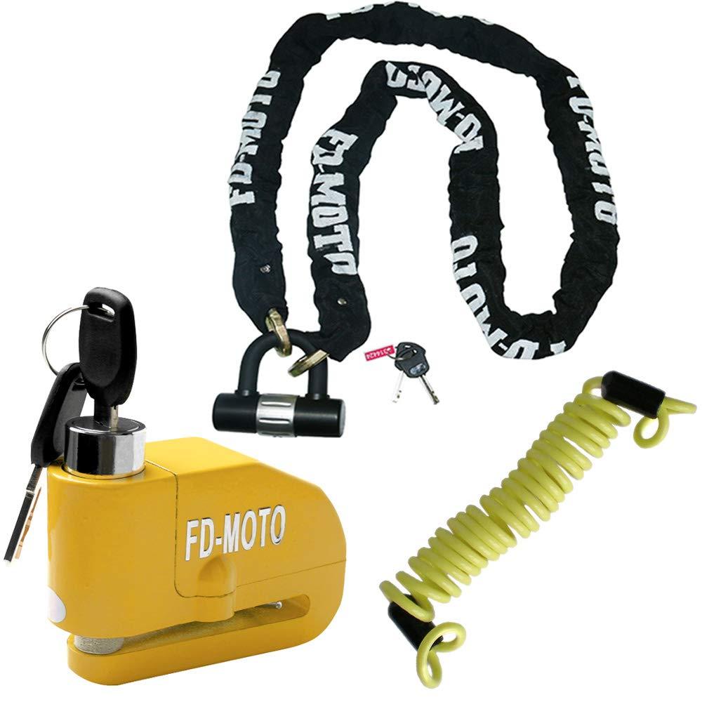 FD-MOTO Lucchetto Antifurto Moto Bloccadisco con Allarme Sonoro 110DB CON Blocco di sicurezza antifurto per manubrio e acceleratore per moto Touch Global Ltd