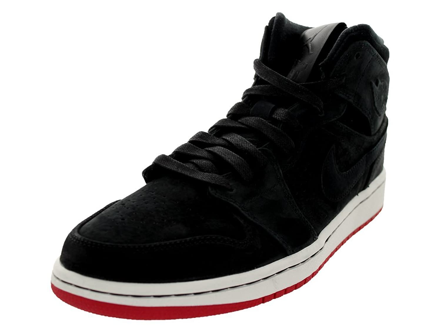 air jordan 1 mid nouveau black/black-gym red-sails-salon