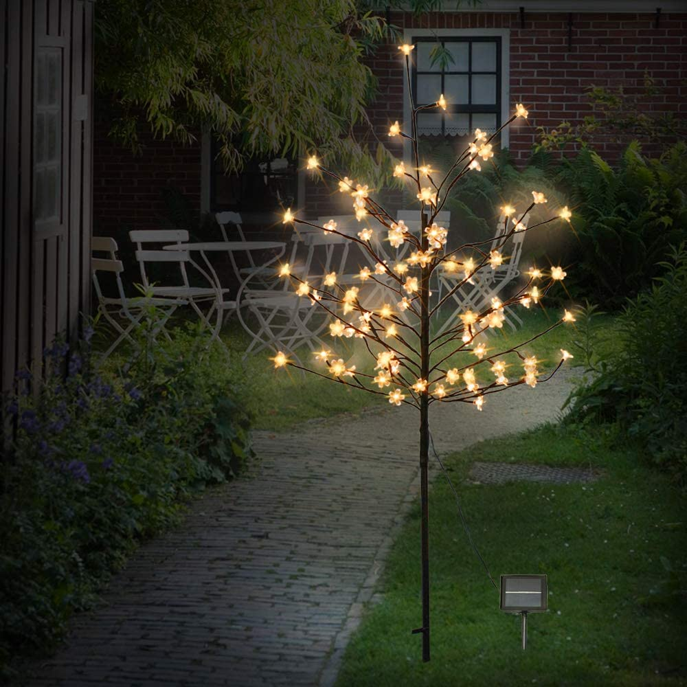 SZMiNiLED 5FT 104LED Solar Lights Outdoor, Cherry Blossoms Christmas Solar Garden Light Trees with Adjustable Branches for Pathway,Yard,Lawn,Backyard,Holiday Party Decoration.