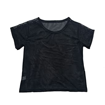 Aniywn Women Casual Loose Crop Mesh Cover Up Short Sleeve T Shirt Black Dancing Fitness Tops at Amazon Womens Clothing store: