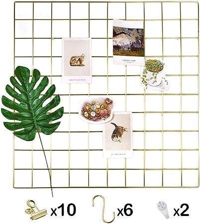 I COOL Ros/é Gold Wandgitter Fotogitter Fotowand Gitter Pinnwand DIY Eisen Gitter der Fotowand Memoboard H/ängen in der Familie 2er-Set