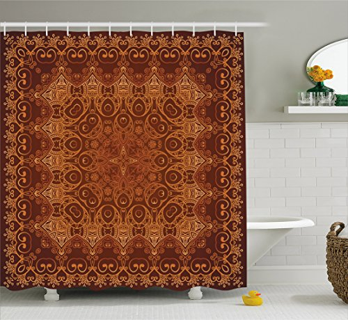 - Ambesonne Antique Decor Vintage Shower Curtain, Lacy Persian Arabic Pattern from Ottoman Empire Palace Carpet Style Artprint, Fabric Bathroom Shower Curtain, 84 Inches Extra Long, Orange Brown