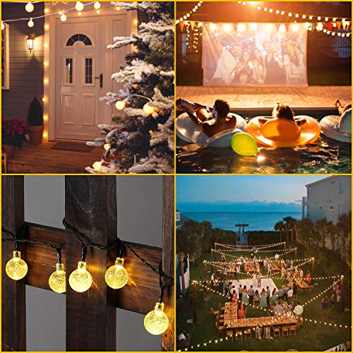 Rockjame Solar Globe String Lights 23FT 50 LED Crystal Bubble Ball Fairy Lights UL CE ROHS FCC Waterproof with 8 Modes for Outdoor Indoor Garden Patio Backyard Weddings Xmas Holiday Party Decor, Warm by Rockjame (Image #1)