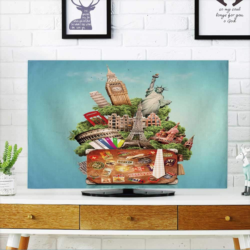 PRUNUS Television Protector Tourist Collage,Travel,Attractions of The World and an Old Suitcase Against The Blue Sky Television Protector W19 x H30 INCH/TV 32''