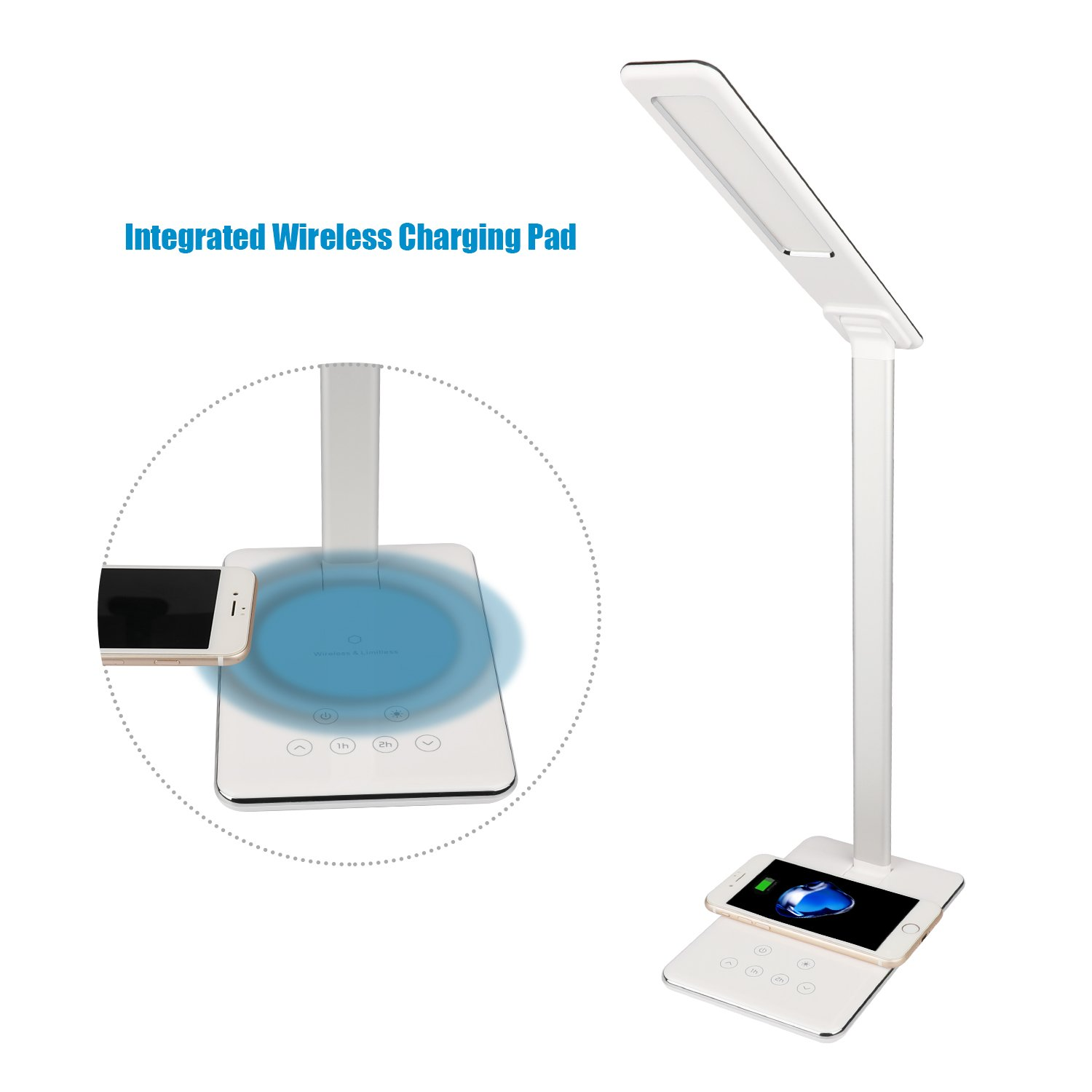 MACASA Led Desk Lamp Dimmable Table Lamp with Qi Wireless Charger for iPhone X / 8 Plus,4 Color Temperatures 6 Adjustable Brightness,Timer Setting,USB Charging Port,Touch Control& Memory Function by MACASA (Image #3)