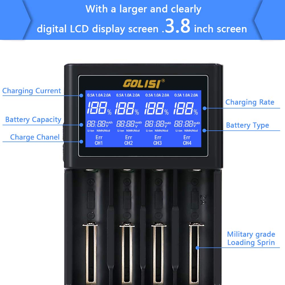 Golisi. Battery Charger for 26650 22650 18490 18350 17670 17500 16340 14500 10440 Li-ion Batteries,with Large LCD Screen, Universal Smart Speedy Wall Charger (4 slot)