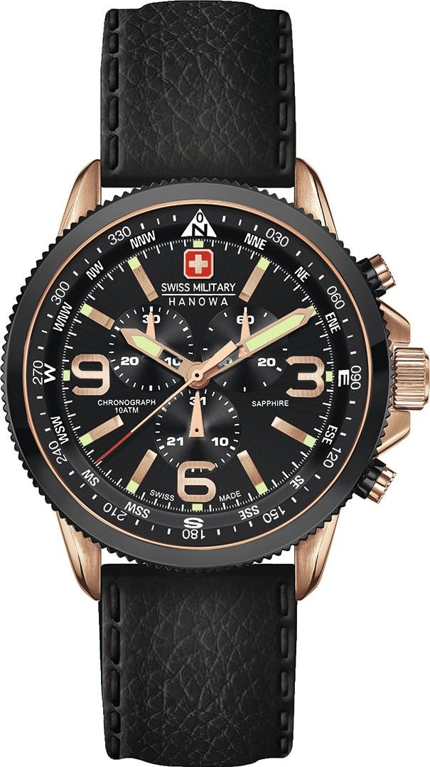Swiss Military Arrow Men's Watch Black Dial Chronograph Leather Strap 6-4224.09.007 by Swiss Military Hanowa
