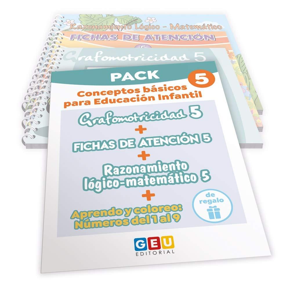 Pack Conceptos básicos Educación Infantil 5 | Editorial Geu | mejora la atención Grafomotricidad y preescritura | Desarrolla Razonamiento matemático Niños de 3 a 5 años: Amazon.es: Razonamiento Lógico - Matemático: Mª