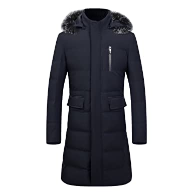hot sale online b8261 77013 GWELL Herren Jungen Daunenmantel mit Fuchspelz Kapuze Knielang Daunen  Daunenjacke Wintermantel Steppjacke Parka Mantel Winter Slim Fit