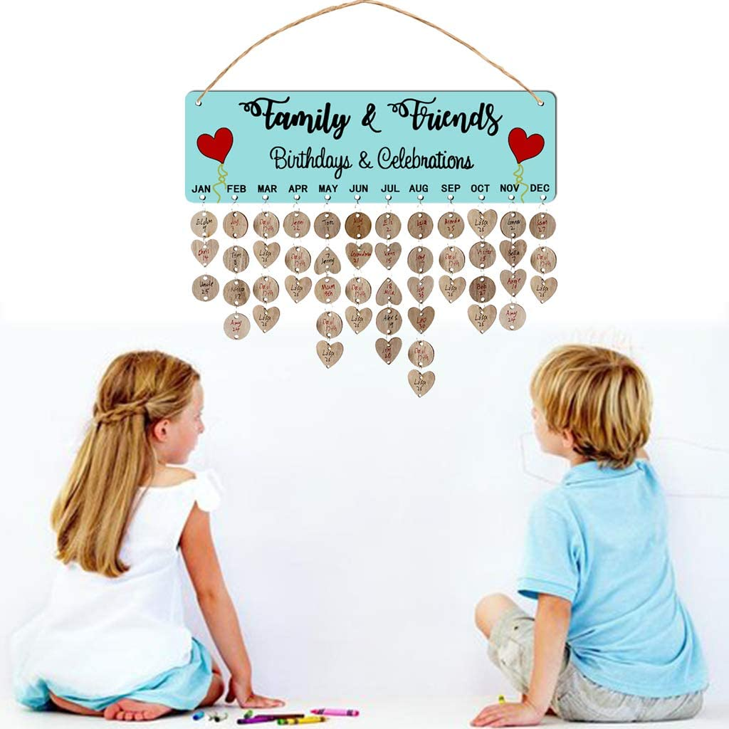 Koobysix 1 Set Kreative Holzkalender Auflistung H/ängende Anh/änger Plaque Board DIY Crafts Haus Dekoration