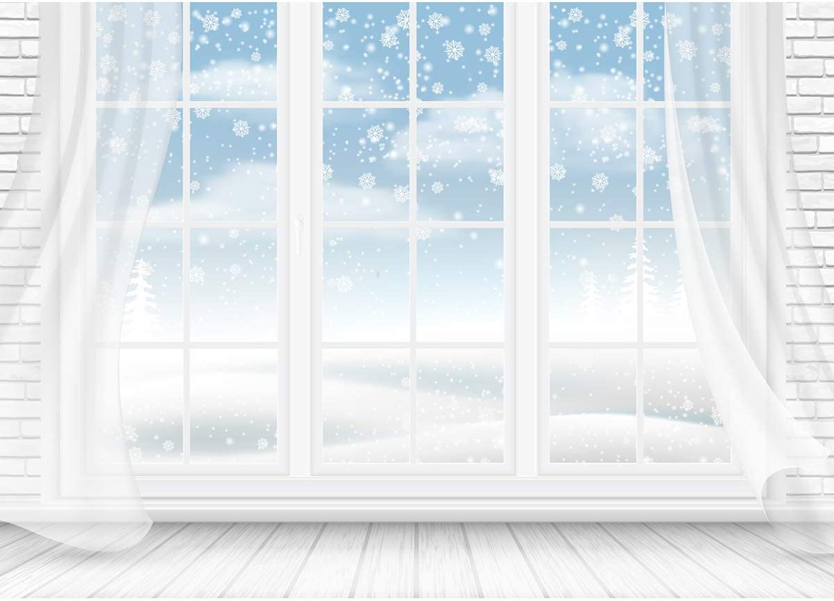 Romantic Winter Wedding Photography Background Backdrop 7x5 Snowflake White Curtain with Bright Windows Photo Backdrops for Wedding Pictures No Wrinkle