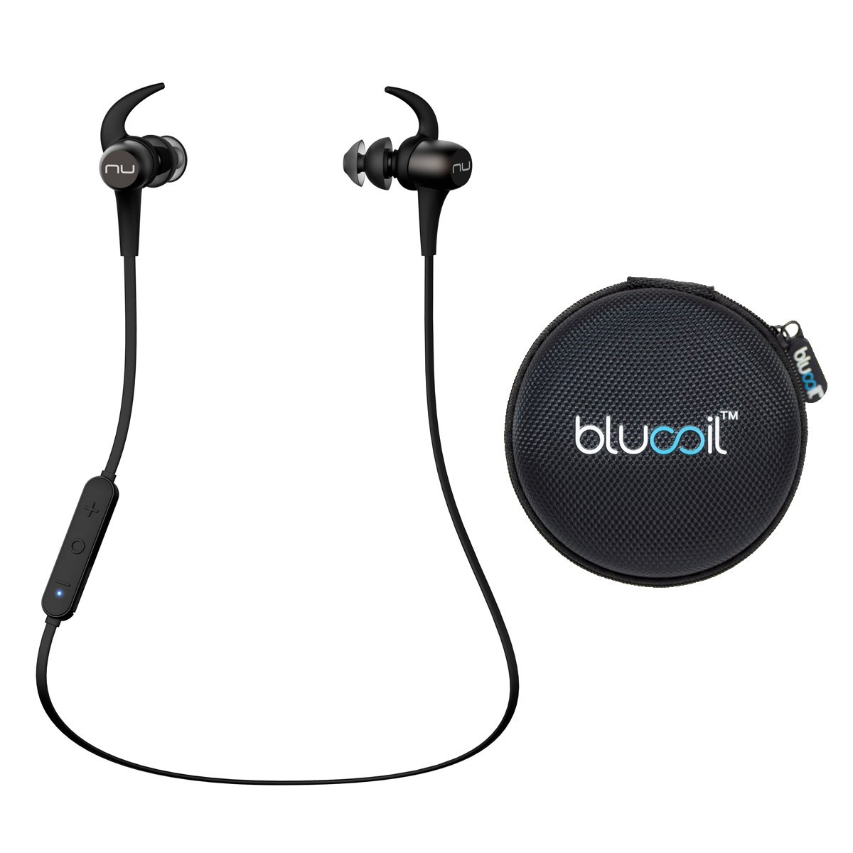 NuForce BE Sport3 Noise Isolation Earphones Wireless Bluetooth aptX AAC with SpinFit Eartips (Gunmetal) -Includes- Blucoil Portable Earphone Hard Case