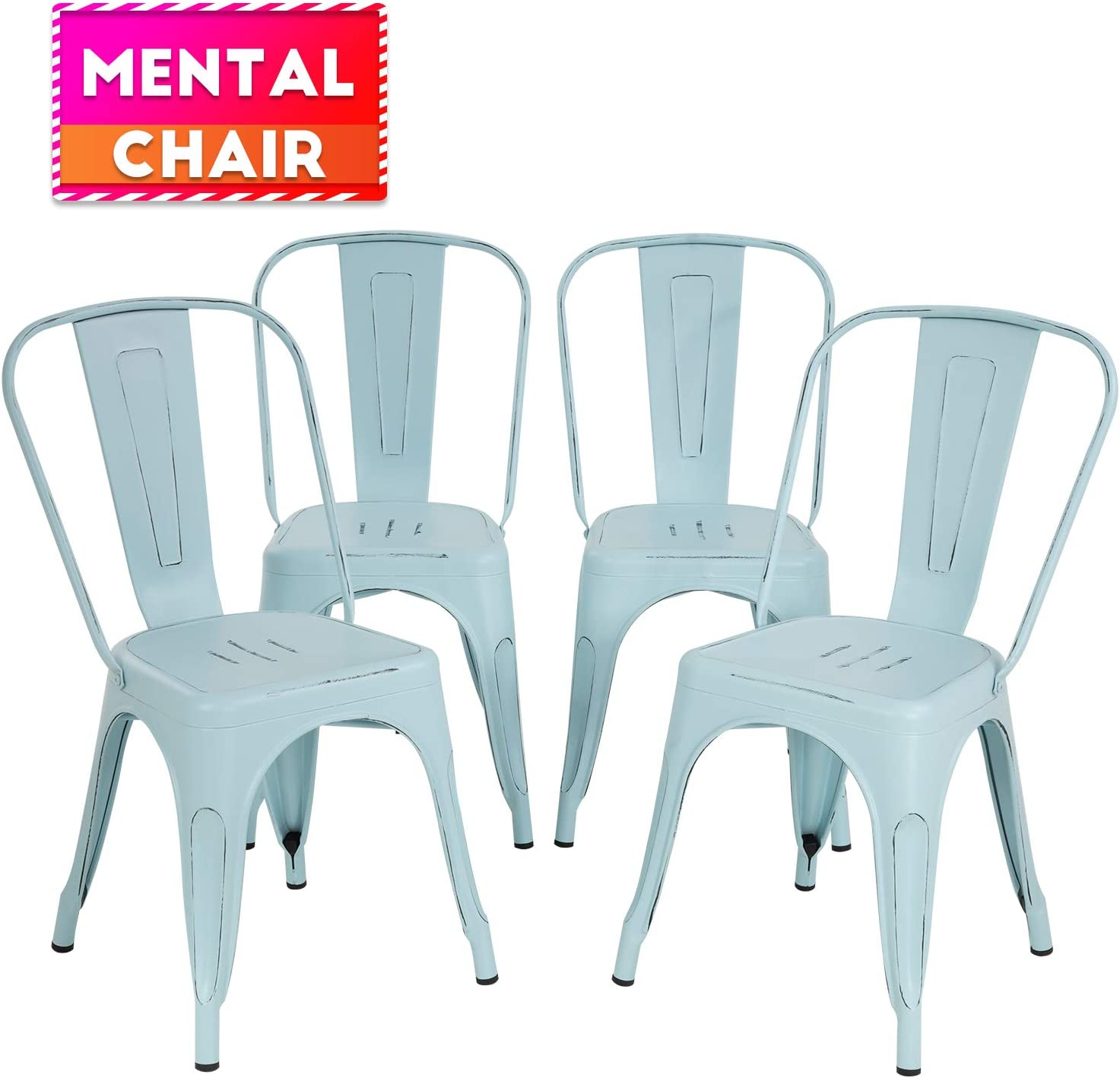Metal Dining Chairs Set of 4 Indoor Outdoor Chairs Patio Chairs Stackable Chair Restaurant Chair 18 Inch Seat Height Chic Metal Kitchen Chairs Trattoria Chairs Metal Tolix Side Bar Chairs