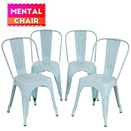 Pleasing Metal Dining Chairs Set Of 4 Indoor Outdoor Chairs Patio Chairs Stackable Chair Restaurant Chair 18 Inch Seat Height Chic Metal Kitchen Chairs Frankydiablos Diy Chair Ideas Frankydiabloscom