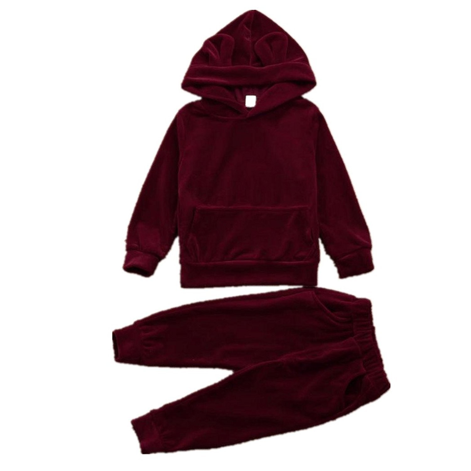 Webla Toddler Baby Boy Girl Hooded Sweatershirt Tops+Pants Velvet Solid Warm Outfits Set For 1-4 Years Old