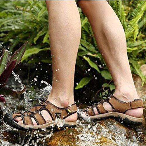 Outdoor Khaki casual sandali ZHONGST Baotou spiaggia estate in pelle sandali scarpe uomo qqwHZ6nX