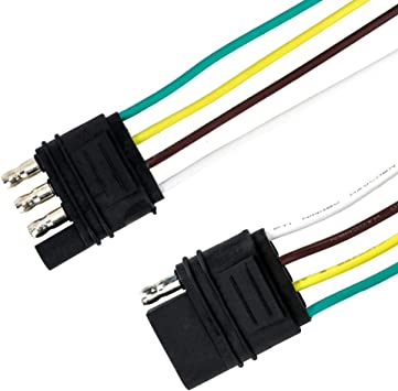 amazon.com: tirol 4 pin flat trailer cable set trailer light plug 418 awg wire  harness connector for caravan auto cables adapters sockets: automotive  amazon.com