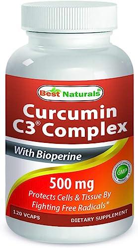 Best Naturals Turmeric Curcumin C3 Complex with Bioperine Veg Capsules, 500 mg, 120 Count