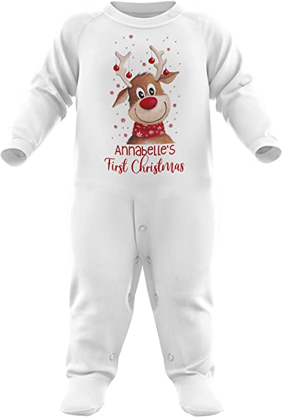 My 1st Christmas Reindeer Embroidered Baby Romper Babygrow Gift Personalised