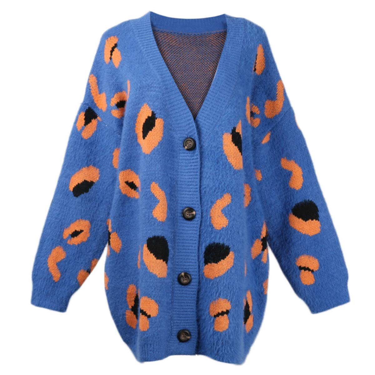 bluee Leopard Print V Neck Button Sweater Coat Women Knit Long Sleeve Cardigan