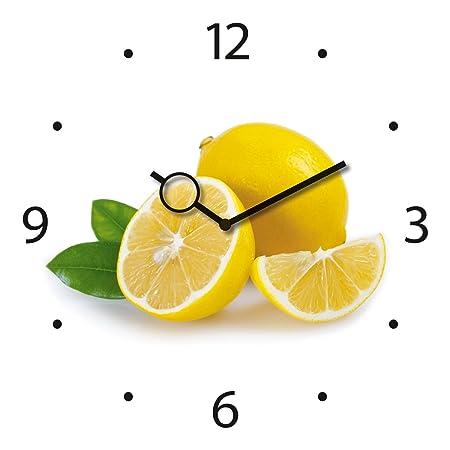 Wanduhr aus Glas für die Küche, Lemon Time, Zitronen, gelb, weiß, 30x30 cm von Eurographics