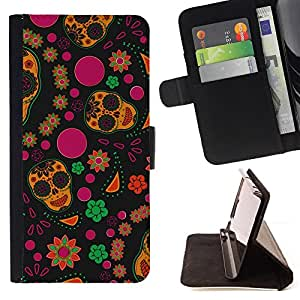 DEVIL CASE - FOR Apple Iphone 6 - Wallpaper Flowers Colorful Skulls Happy Hippie - Style PU Leather Case Wallet Flip Stand Flap Closure Cover