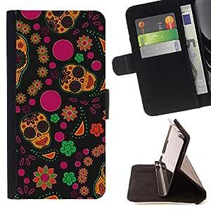 BullDog Case - FOR/Samsung Galaxy Note 3 III / - / wallpaper flowers colorful skulls happy hippie /- Monedero de cuero de la PU Llevar cubierta de la caja con el ID Credit Card Slots Flip funda de cuer