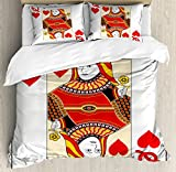Ambesonne Queen Duvet Cover Set King Size, Queen of Hearts Playing Card Casino Design Gambling Game Poker Blackjack, Decorative 3 Piece Bedding Set with 2 Pillow Shams, Vermilion Yellow White