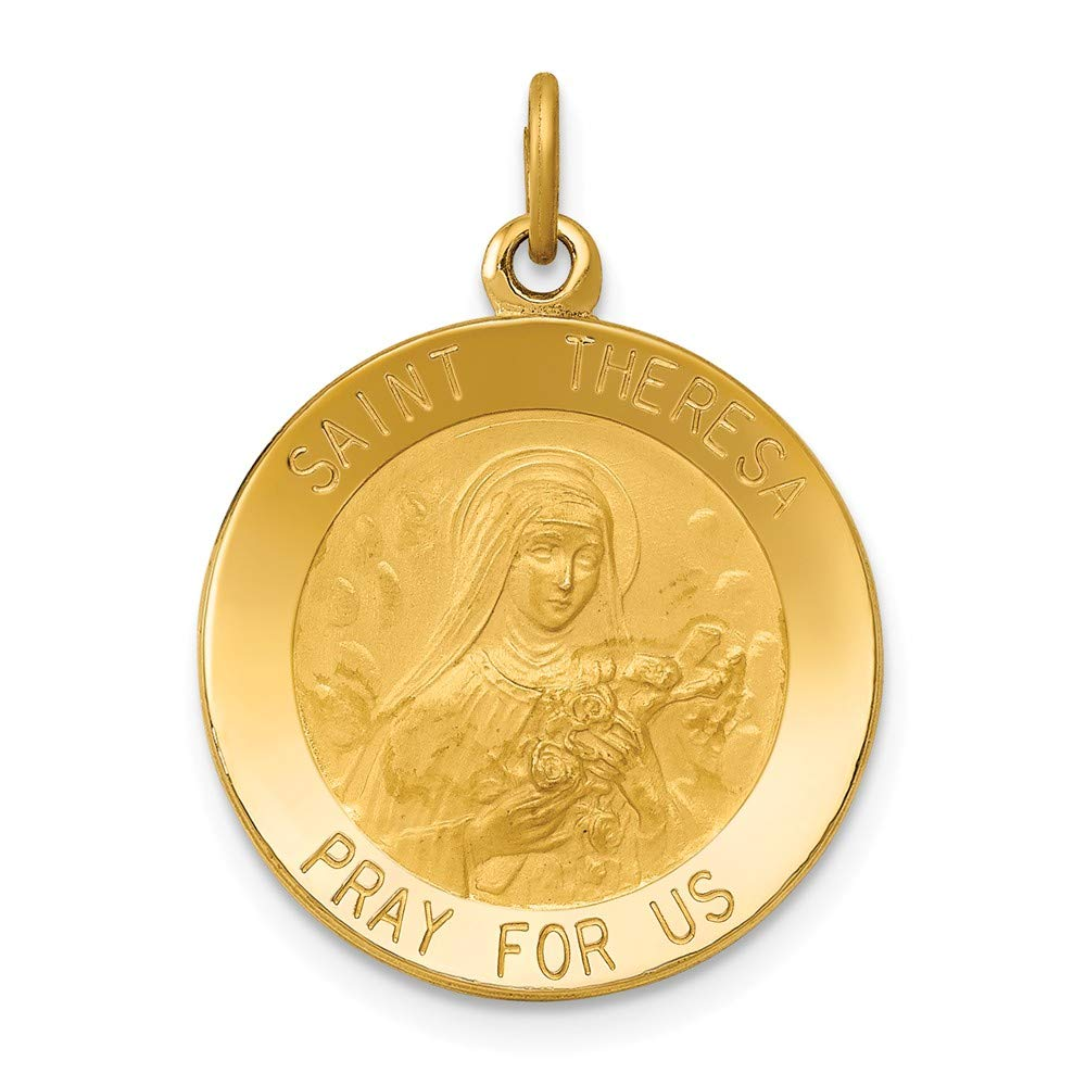 Solide 14 K Or Jaune Saint Theresa Médaille Pendentif Charm (19 mm X 26 mm) Sonia Jewels 3178783355