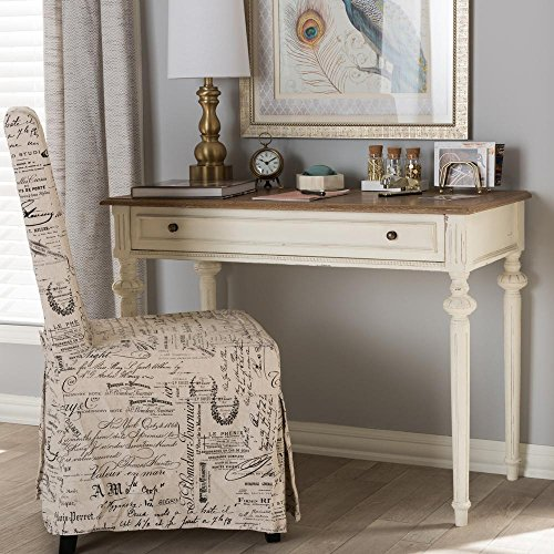 Baxton Studio Marquetterie Provincial Writing Desk in White by Baxton Studio