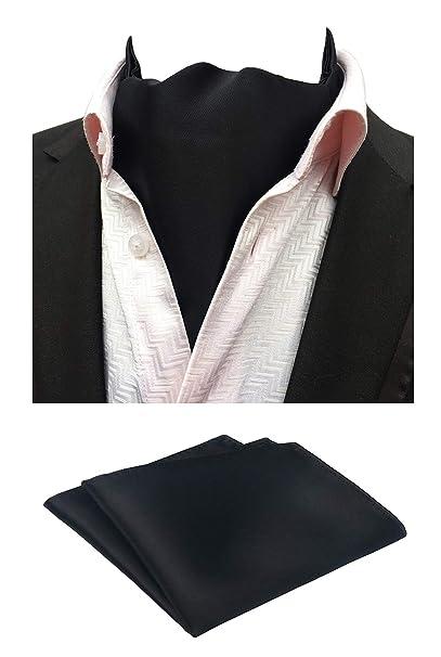 d6e07efcd36de MOHSLEE Men's Black Classic Party Ascot Neckties Woven Cravat Pocket Square  Set