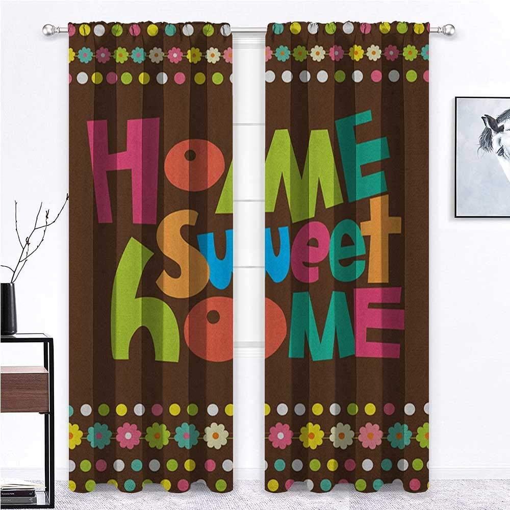 Blackout Curtain Home Sweet Home Light Blocking Curtains Retro Cartoon Style Funky Colorful Letters and Floral Borders with Dots for Kitchen Cafe Decor Multicolor 2 Rod Pocket Panels, 42