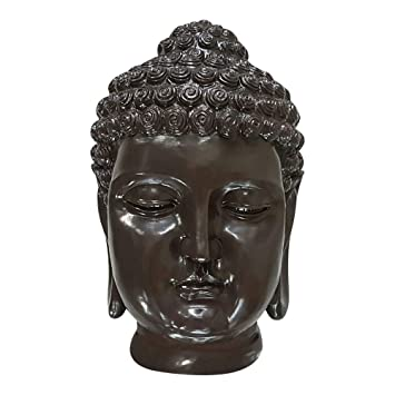 Buddha Kopf Groß Feng Shui Deko Thai Garten Figur Skulptur Statue antik grau