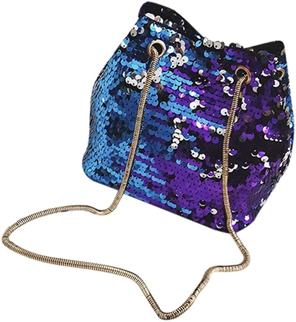 Blue TOOGOO Women quins Bag Fashion Handbag Pur Glitter Shoulder Bag Evening Party Clutch for Girl