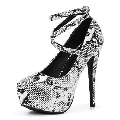 cd755b2edc fereshte Women's Ankle Strap Platform High Heels Party Dress Pumps Shoes PU  Snakeskin EU35
