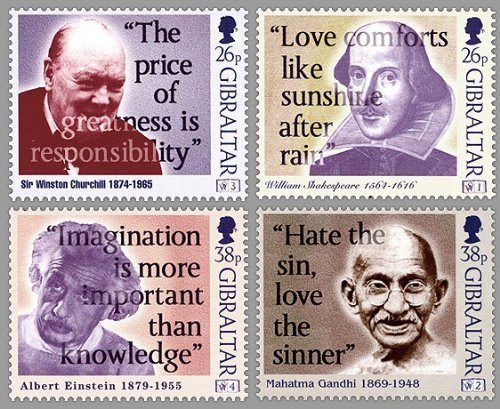 Words of Wisdom William Shakespeare, Winston Churchill, Mahatma Gandhi, Albert Einstein Collectible Gibraltar Stamps