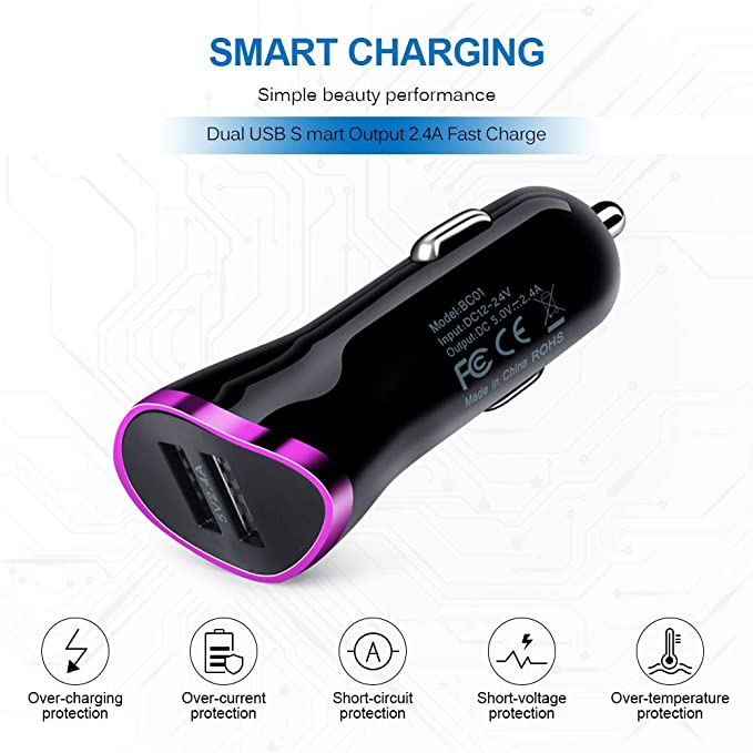 Amazon.com: AndHot Dual Port Android Car Charger with 6ft ...