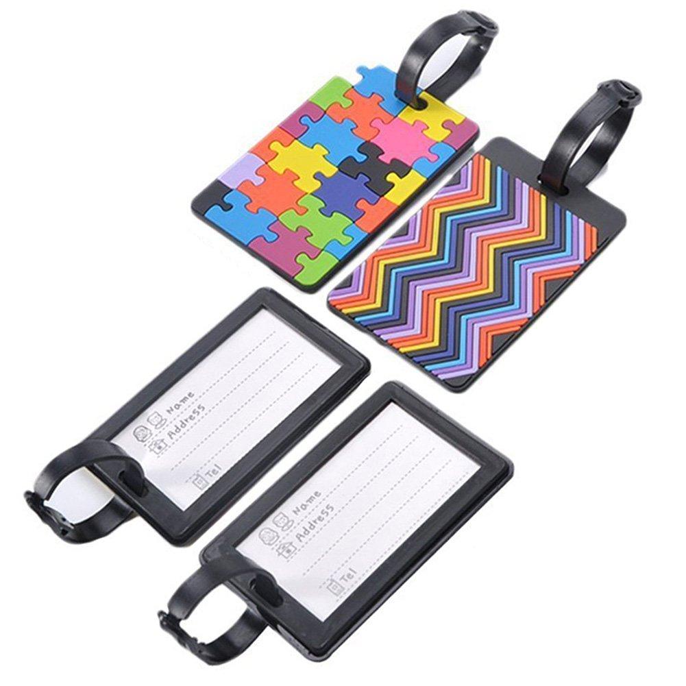 4x Toruiwa Etiquette de Bagage Etiquette de Valise en PVC Voyage ID Card Luggage Tag Couleur Al/éatoire 6,5 x 10,5 cm
