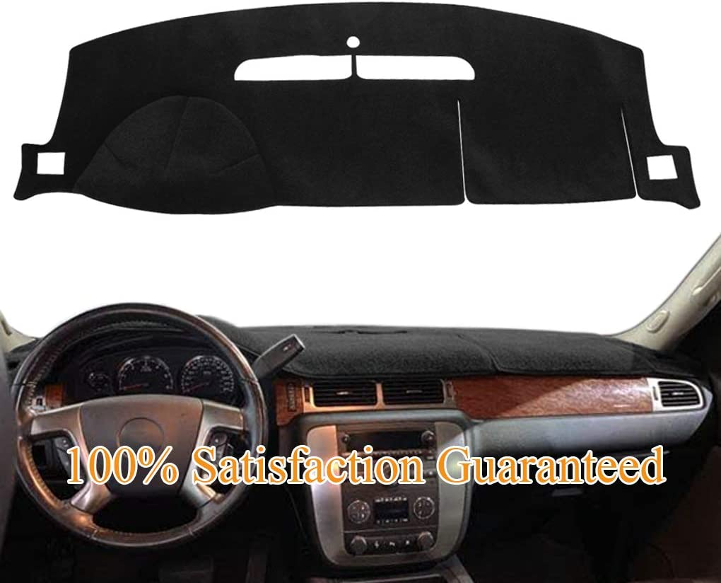 Dashboard Cover Dash Cover Mat Pad Fit for 2007-2014 Chevy Chevrolet Tahoe Suburban 1500,Chevrolet Avalanche Silverado 1500 LTZ 2007-2013,GMC Yukon All Models 2007-2014 (Black) Y24