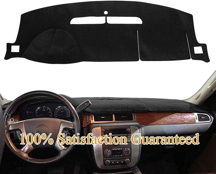 Dashboard Cover Dash Cover Mat Pad Fit for 2007-2014 Chevy Chevrolet Tahoe Suburban 1500,Chevrolet Avalanche Silverado 1500 LTZ 2007-2013,GMC Yukon All Models 2007-2014 (Black) Y24