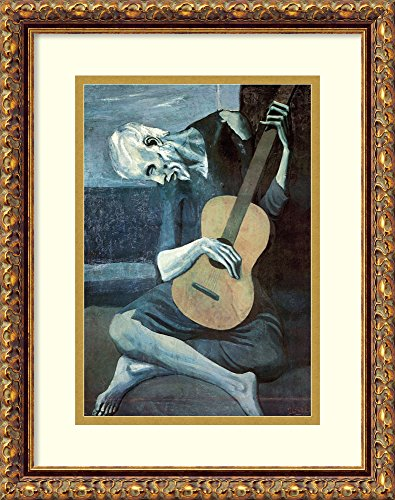 Framed Art Print 'The Old Guitarist, 1903' by Pablo Picasso - Pablo Picasso Lithograph