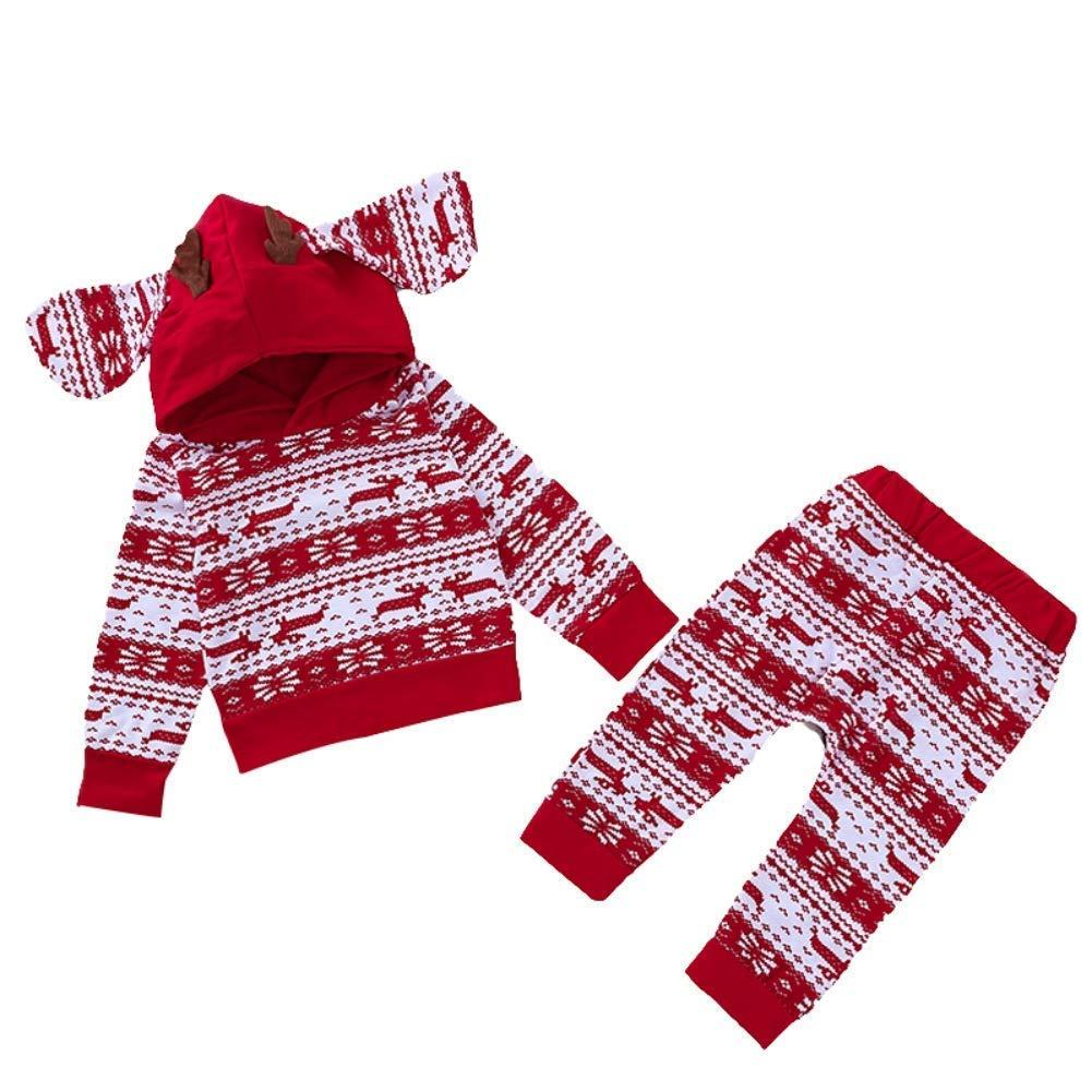 JIAJIA YL Baby Jungen Mä dchen Strampler Set, 1. Weihnachts-Outfit Set Roten Strampler + Hut + Hose