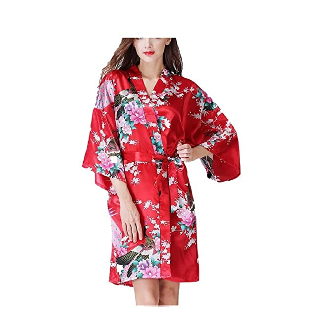 SYGoodBUY Vestido de Manga Larga y Mangas Cortas Vestido de Raso y Pijamas de Satén Floral