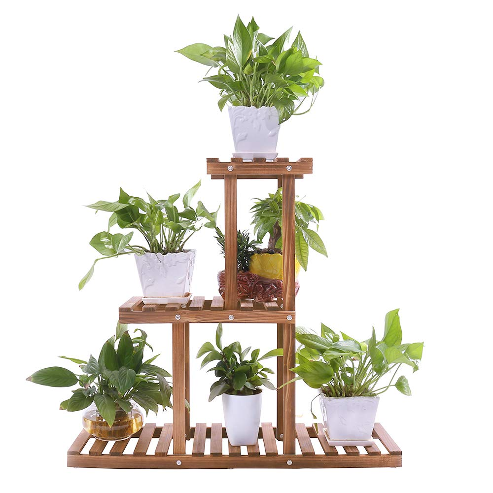Ufine Wood Plant Stand Indoor Outdoor 3 Tier Vertical Carbonized Multiple Planter Holder Flower Ladder Stair Shelf Garden Balcony Patio Corner Pot Display Storage Rack by Ufine
